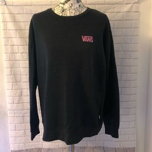 Vans crewneck sweater gray pink checkered sleeve